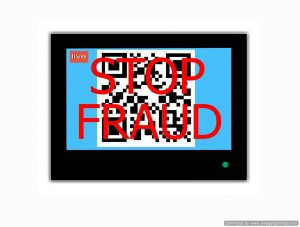 Modern LCD screen with sign QR CODE  and slogan STOP  FRAUD