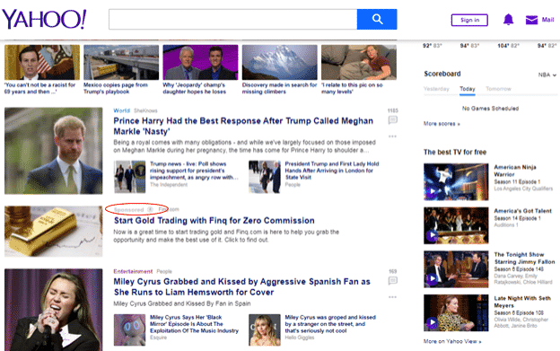 Yahoo Native Advertising feed